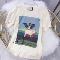 Top 2019 luxury good quality print pig Women Tshirt harajuku painting bat T Shirt casual Top Tee short sleeve