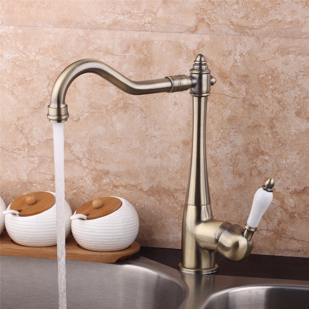360 Swivel Stream Spout Antique Copper Chrome Brass Finish Deck Mounted Tap Kitchen Sink Faucet Hot & Cold Mixer Polish Taps antique brass swivel spout dual cross handles kitchen