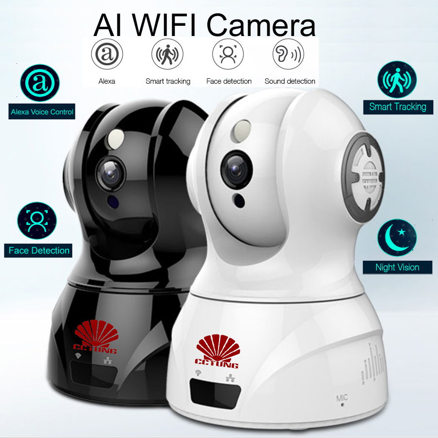 Intelligente WIFI PTZ FHD IP Copertura Della Macchina Fotografica con Alexa Controllo Vocale Auto Intelligente Di Monitoraggio Viso Rilevamento del Suono per il Movimento di Rilevamento di allarme