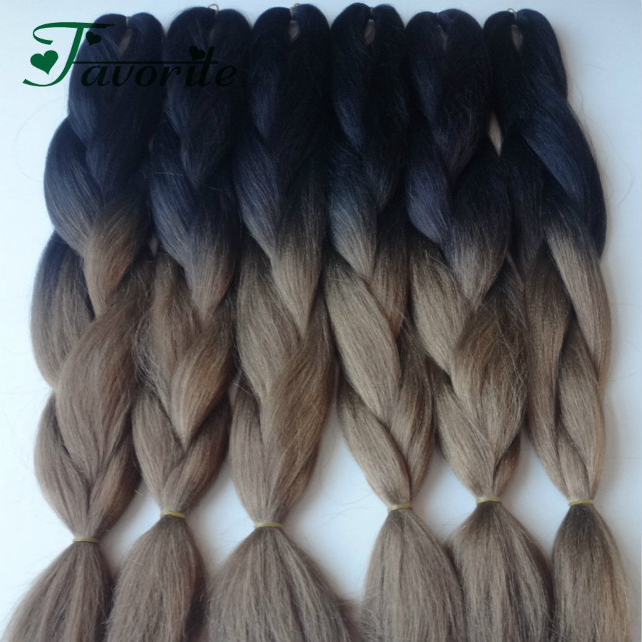 Synthetic Ombre Kanekalon Braiding Hair,Black Brown Braiding Hair 10PACK Jumbo Two Tone Grey Braids Ombre Hair Extensions