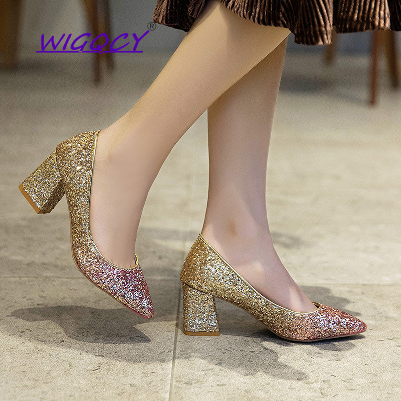 Mixed Colors Bling High heels pumps women shoes 2019 spring autumn shoes women Fashion Shallow Pointed Square heel Wedding shoes 1