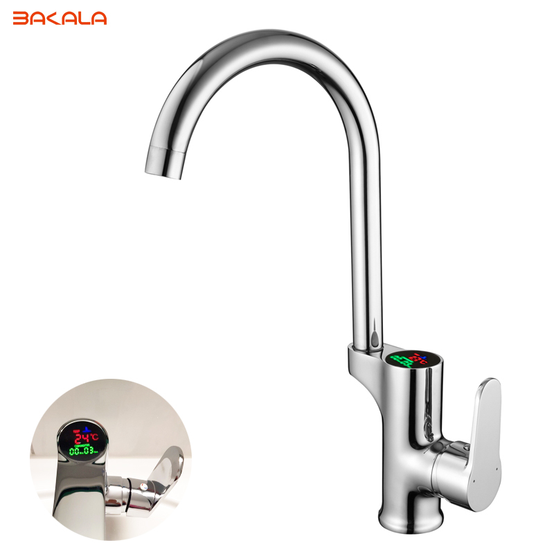 BAKALA  LCD Digital Kitchen Faucet Water Power Sink Mixer. Solid Brass Chrome Plated Temperate Display Faucet Smart Tap 2