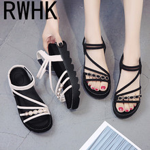 RWHK Sandals female summer 2019 new Korean version of the wild student women's shoes ladies muffin bottom thick sandals B229 2018 new sandals female summer student korean version of the wild simple baotou thick bottomed retro wedge shoes