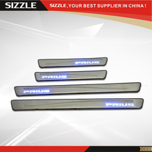 Stainless Steel LED Light Door Sill Scuff Plate For Toyota Prius 4D 2010 2011 2012 2013 2014