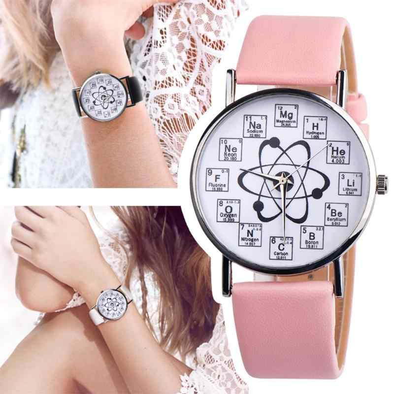 Creative Women Watches Women Girl Leather Band Chemical Symbol Print Analog Quartz Watch relogio feminino