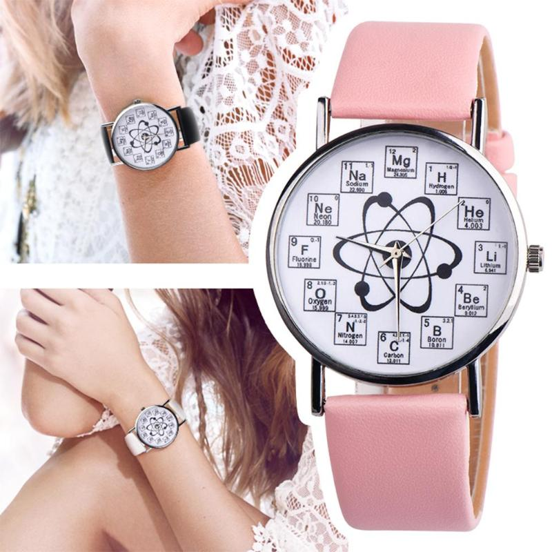 Creative Women Watches Women Girl Leather Band Chemical Symbol Print Analog Quartz Watch Relogio Feminino