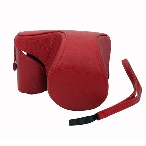 Bolsa de cuero de la cámara para Sony e NEX-5 NEX5 NEX-5N NEX5N Cámara rojo