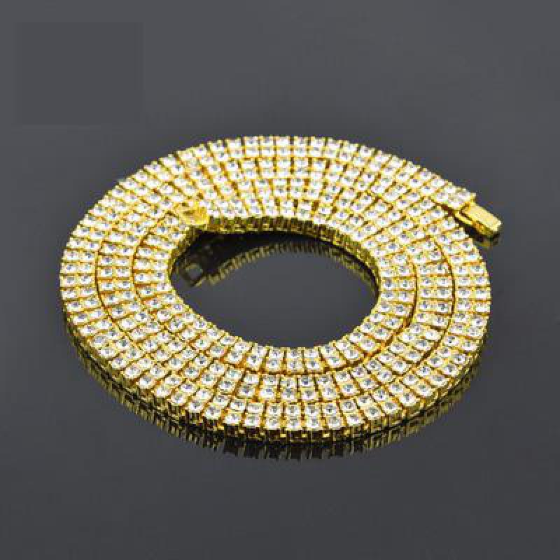 Top Quality 2 Row 20inch-30inch Mens Hiphop Gold Chain Round Cut Rhinestone Tennis Necklace Punk Iced Out Rhinestone Jewelry gothic style cut out lace faux gem rhinestone necklace