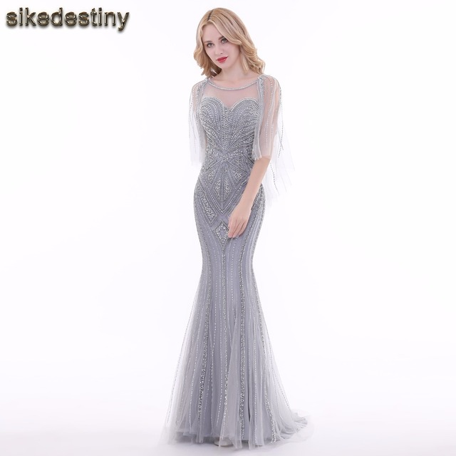 Sikedestiny Real Photos Beautiful Mermaid Long Gray Evening Dresses ...