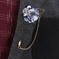 2016 Nova Marca Mens Suits Moda Acessórios Broches Broche Cadeia Clássico Chiffon de Seda Buquê de Flores com Folha de Ouro