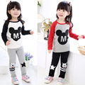 New Mickey Girls Motion Sets Spring Cartoon Cotton Clothing Set For Girls Long Sleeve Shirt + Pants 2 Pieces Suit Kids Clothing