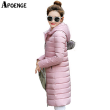 APOENGE Women Winter Long Thick Jacket 2017 manteau hiver femme Cute Hairball Hooded Solid Winter Coat Cotton Parkas Mujer QN600
