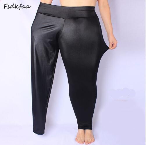 New Faux Leather Leggings Sexy Fashion High-waist Stretch Material Pencil Women Leggings Sexy Leggings Women Large Size M-5XL