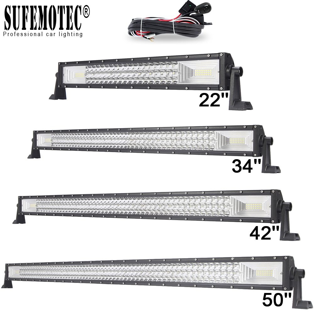 цена на 22 34 42 50 Inch 3 Row Straight Led Bar Curved Led Work Light Bar For ATV 4WD SUV Trucks 4x4 Offroad Combo Beam Driving Lamp