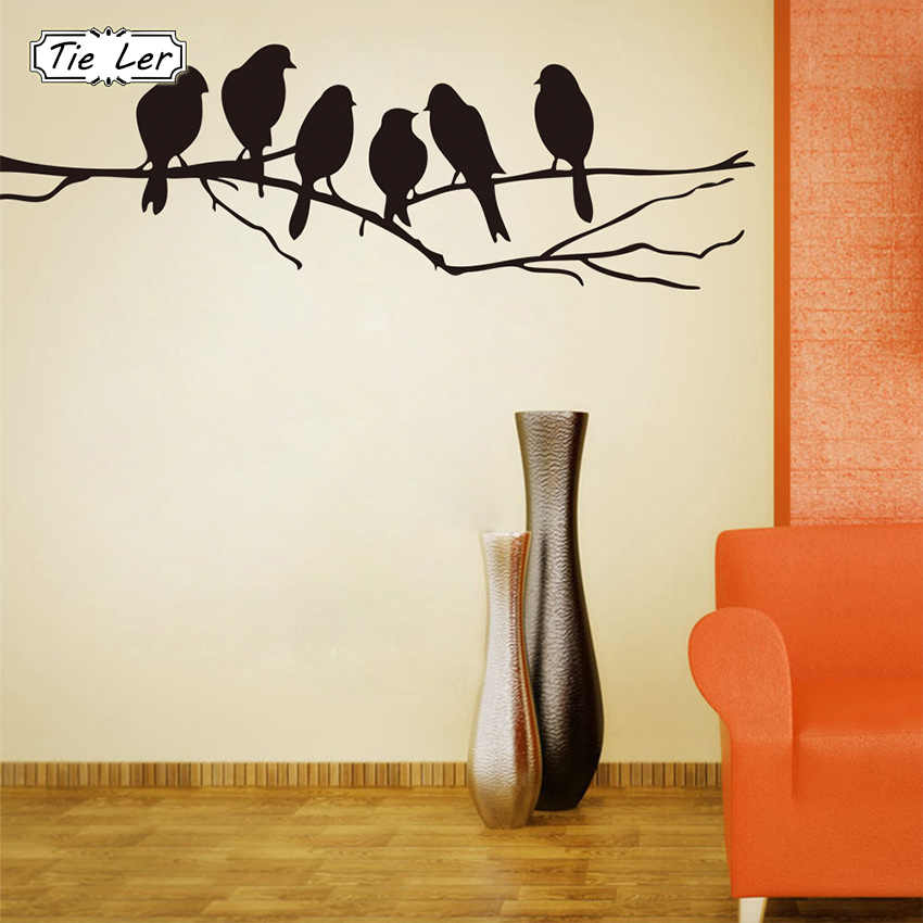 TIE LER DIY Wall Stickers Decal Removable Black Birds Tree Branch Art Home Decor Mural Sticker 85*26cm