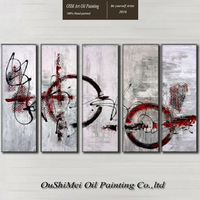 China Top Supplier Wholesale High Quality Modern Abstract Five Panels Oil Painting On Canvas Abstract Oil Paints for Friend Gift