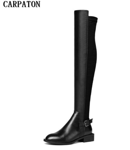 Autumn Winter Newest Over the knee boots for woman round toe black stretch fabric thigh high boots woman flat riding boots