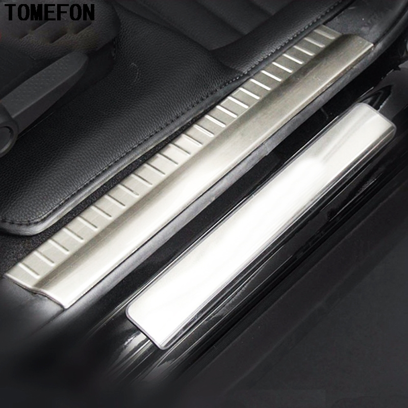 For Dodge Journey 2011 2012 2013 2014 Stainless Steel Chrome Interior Inner Door Sill Scuff Plate Guard Trim 4pcs built guard bump guard plate after the pedal steel trunk for 2011 2012 2013 2014 vw volkswagen polo hatchback