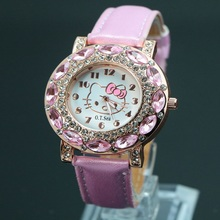 2016 New Fashion Hello Kitty Cartoon Watches Childlren Girl Women Crystal Quatz Dress Wristwatches 048-27