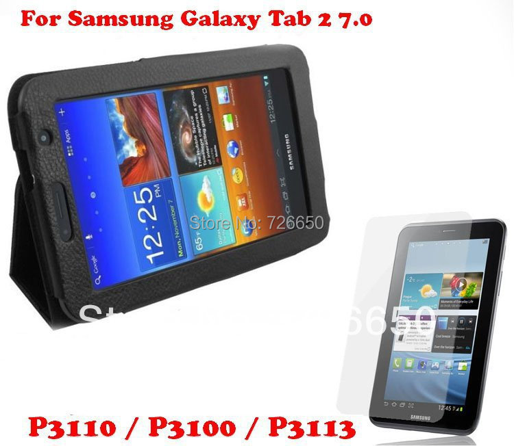 NEW Litch pattern luxury leather case For Samsung Galaxy Tab 2 P3100 P3110 7.0 standable cover +Free Screen protector