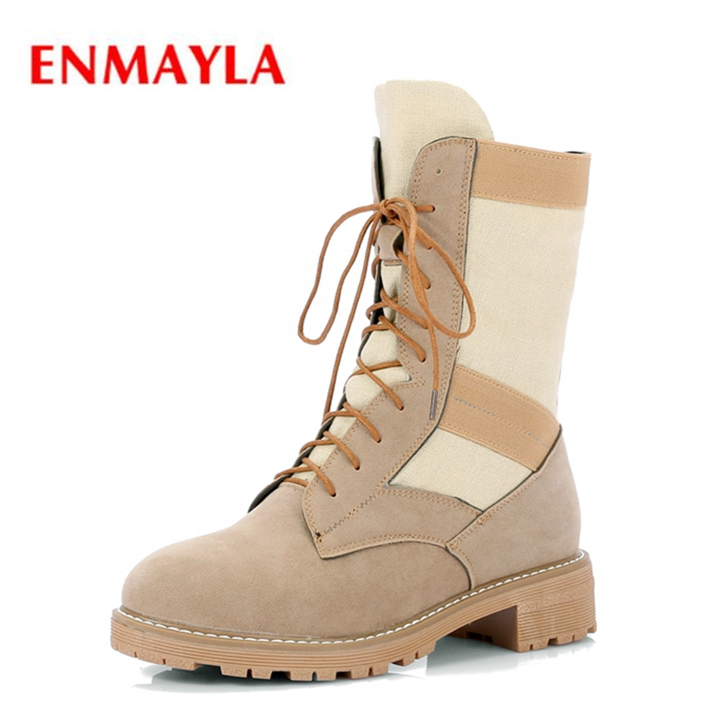 ENMAYLA  New style women flock round toe square heel lace-up mid-calf boots Lady fashion color block ZYL517