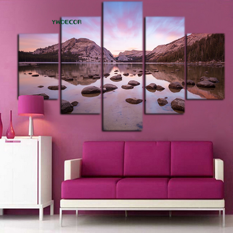 5Panel Print Mountain Sunset Clouds Stone Seascape on Canvas Modern ...
