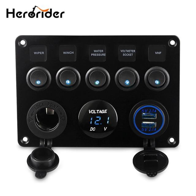 Herorider Dual USB разъем зарядное светодио дный LED вольтметр 12 В в мощность Outlet 5 Gang ВКЛ-ВЫКЛ тумблер панель для автомобиля лодка морской RV грузовик