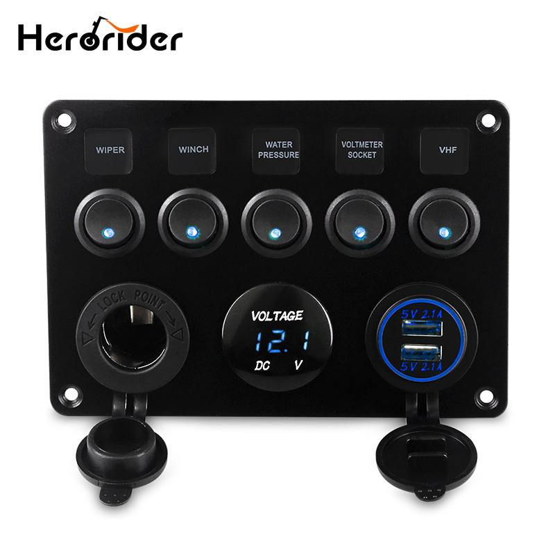 Herorider Dual USB Socket Charger LED Voltmeter 12V Power Outlet 5 Gang ON-OFF Toggle Switch Panel for Car Boat Marine RV Truck