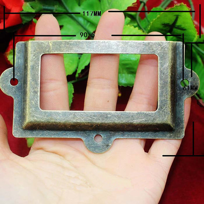 117 * 61MM Antiquate Bronze Drawer Box Cabinet Iron Label Frame Card ...