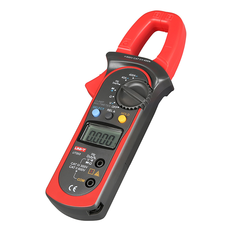 UT203 DC/AC Voltage Current Digital Clamp Meter LCD Digital Auto Range Clamp Multimeter with Resistance, Frequency Measurement auto range clamp style digital multimeter with strap dt3266l