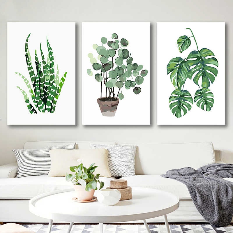 DIY colorings pictures by numbers with colors Watercolor leaf plant illustration picture drawing painting   framed Home