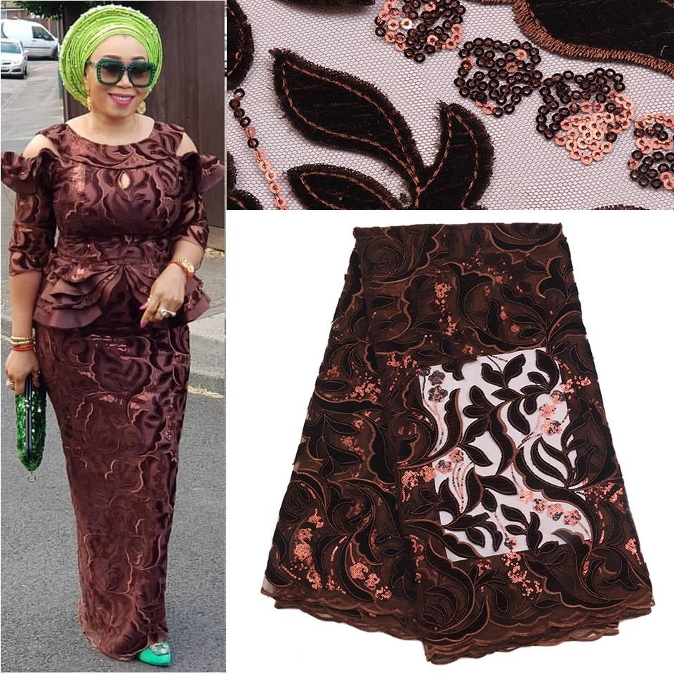 Afrykańskie stroje dla kobiet Nigeriane, afryki tkaniny koronki fioletowy, cekiny aksamitna koronki tkaniny netto MR1710B w Koronka od Dom i ogród na  Grupa 1