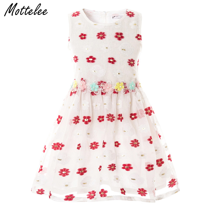 Mottelee Girls Dress Embroidery Flower Baby Party Dresses Summer Children Beach Dresses Kids Party Sundress for Girl unini yun 2 7t girl dress baby kids summer flower cherry backless sundress girl cotton sleeveless princess beach casual dresses