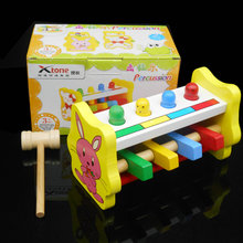 Free shipping Wooden Percussion Beating Toys Children's beginning ability training percussion Kids wood block whack-a-mole Toys
