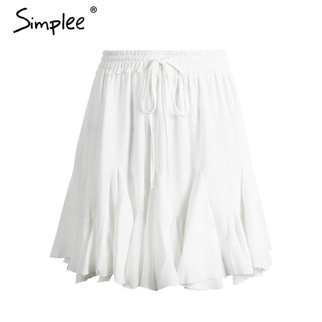 Simplee High waist sexy short pleated skirt 2017 Elegant summer beach black mini skirt Casual white party women skirt streetwear