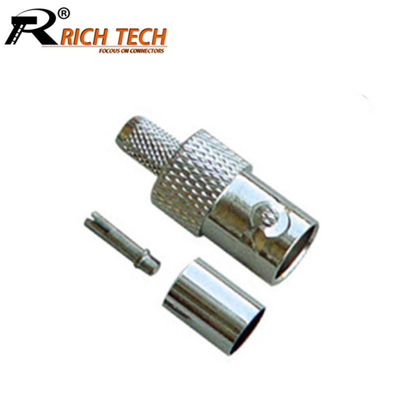 10pcs/lot BNC female jack crimp connector straight female BNC socket adapter BNC RG58 RG59 RG6 converter Wholesales