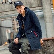 BATMO 2019 new arrival autumn high quality cotton denim hooded trench coat men,men's denim casual