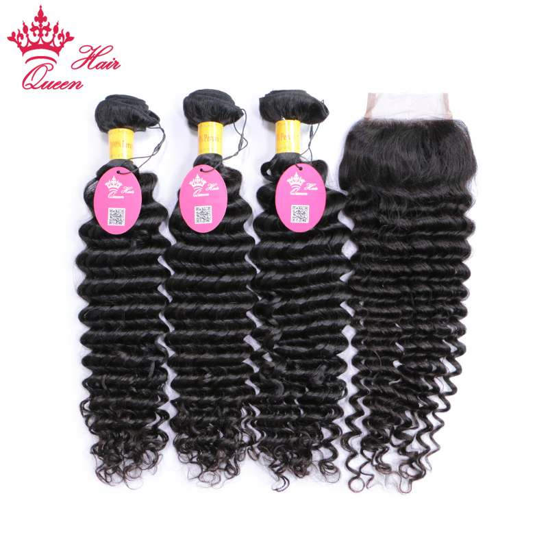 Queen Hair 100% Unprocessed Human Hair Peruvian Deep Wave Virgin Hair 3 Bundles with Lace Closure, Bundle with Closure 4pcs/lot