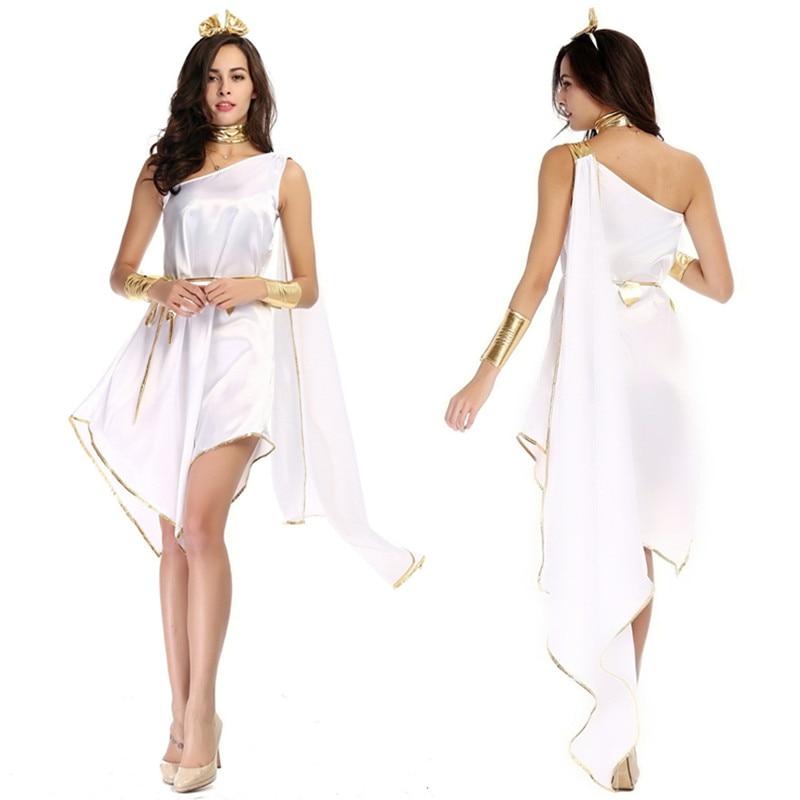 Women Sexy Ancient Greek Goddess Costume Adult Roman Princess Costume Halloween Carnival Party White Loose Irregular Fancy Dress