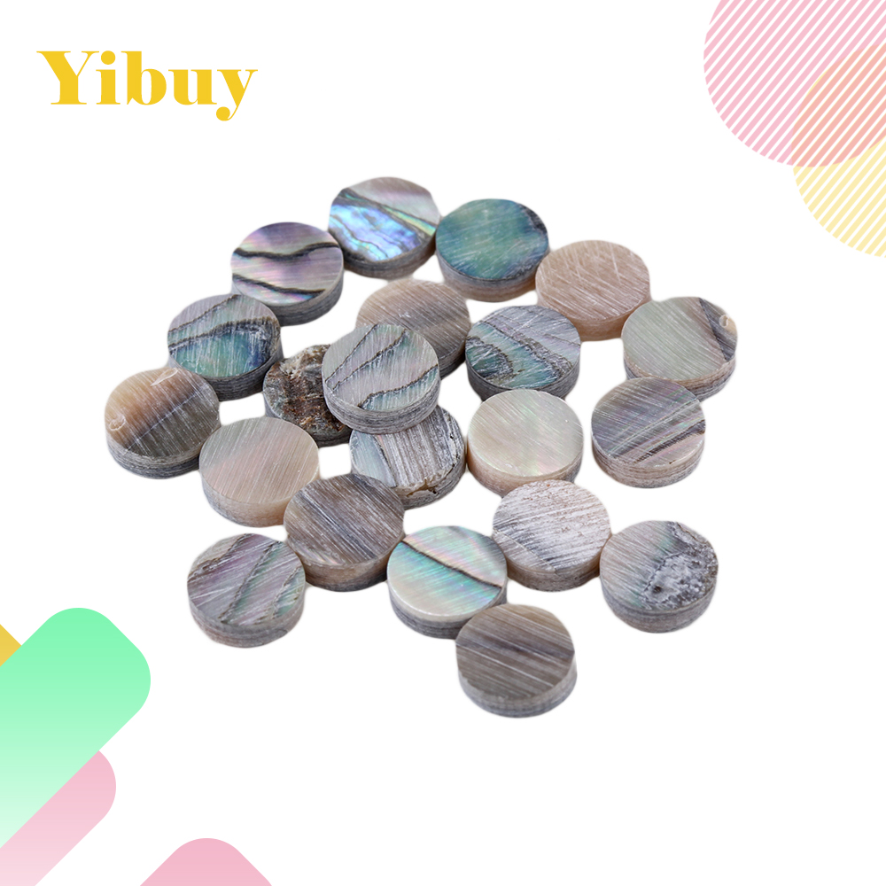 Yibuy 6mm Coloful Abalone Mother of Pearl Shell Fingerboard Dots with Inlay Material For Guitar Pack of 20