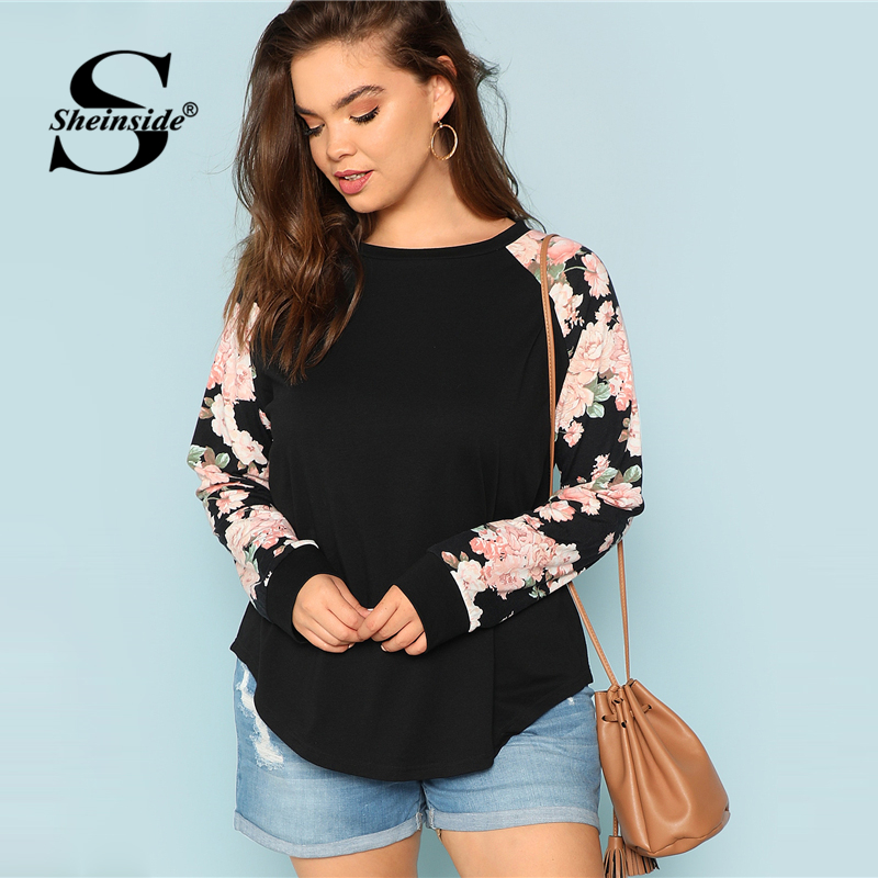 Sheinside Plus Size Black   T     Shirt   Women Round Neck Floral Raglan Sleeve Tops 2018 Autumn Womens Clothing Long Sleeve Tee   Shirt