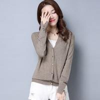 Spring Cardigan Women Korean V Neck Knitted Cardigan Feminino Ladies Long Sleeve Loose Buttons Cardigan Thin