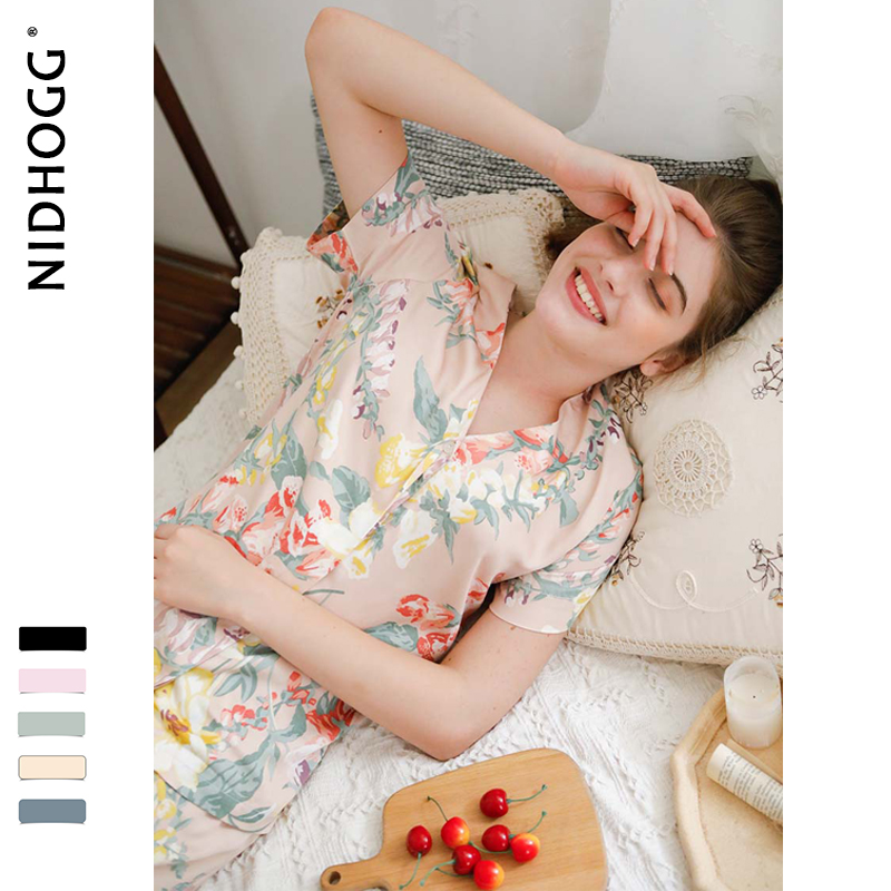 Image 2 - Summer New Elegant Flower Printing Satin Pajamas for Women Short Sleeve Trousers Sleepwear V Neck Sexy Casual Clothes 2 Suits-in Pajama Sets from Underwear & Sleepwears