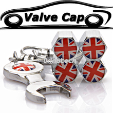 The Union Jack Car Wheel Tire Valve Cap Cover For Ford Chevrolet Dodge Skoda Volkswagen Peugeot SEAT Audi BMW Fiat MINI COOPER