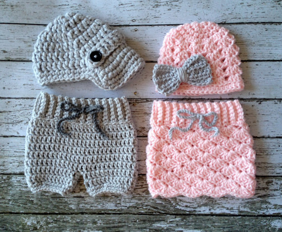 Free Shipping Baby Hat Pale Pink And Gray Crochet Baby Pantsskirt