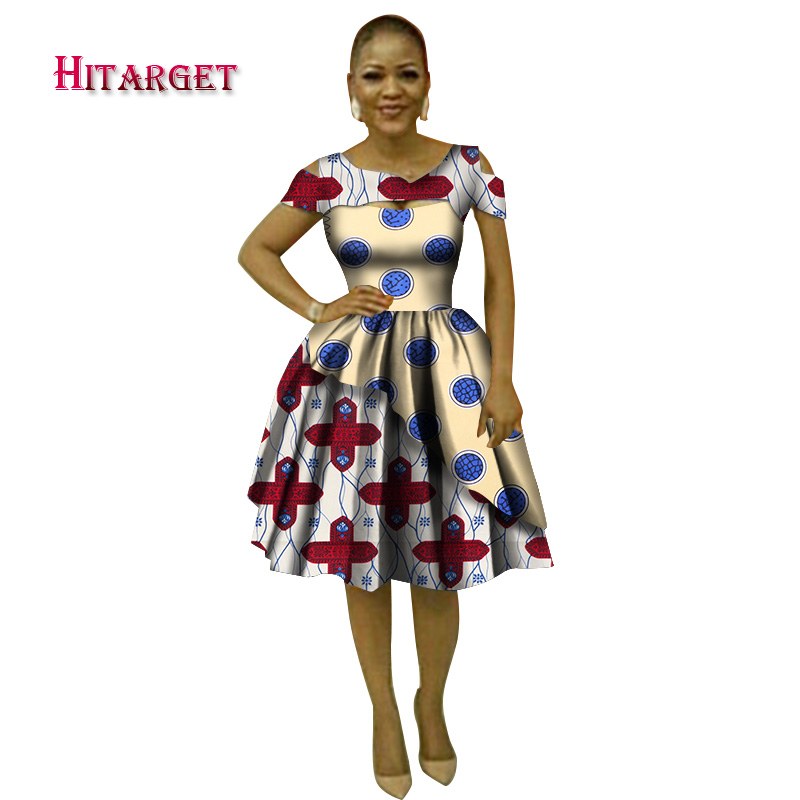 Hitarget 2018 Summer Bazin African Dresses for Women Dashiki African Wax  Print Sexy V-Neck Dresses Traditional Clothing WY3038 595bf2ad97be