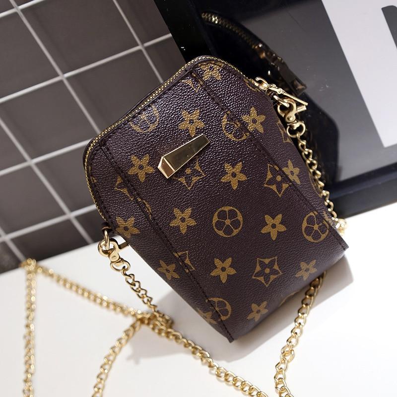 2018 new summer fashion old flower chain pu mini mobile phone bag shoulder Messenger bag change small bag
