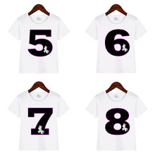 Boys Girls Happy Birthday Number 1-9 Print Unicorn T shirt Kids Baby White Funny Summer Tops Birthday Present Clothes Camiseta(China)