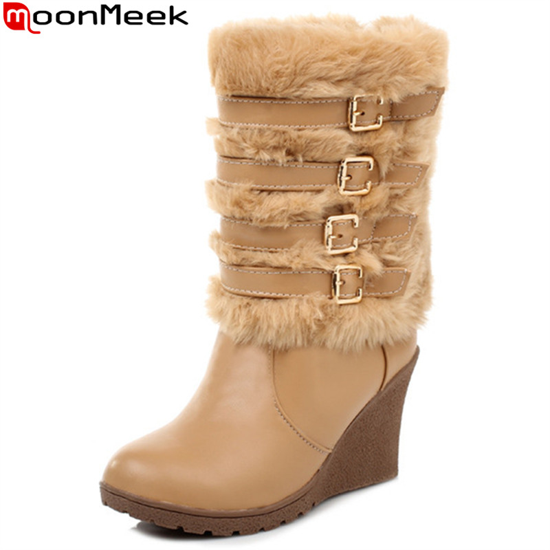 MoonMeek 2017 winter new arrive women boots fashion buckle solid color mid calf boots comfortable wedges snow boots black white concise women s mid calf boots with buckle and solid color design