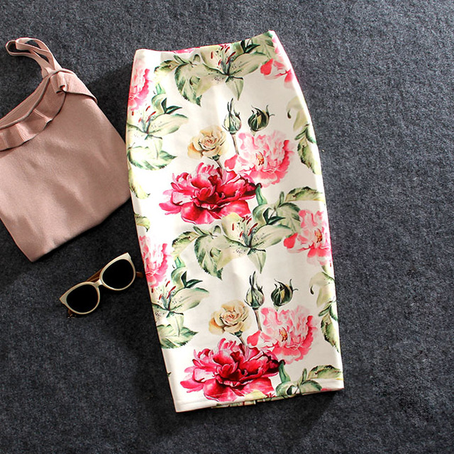 Women Skirts Summer Print Flowers Pencil Skirt Casual Skirts Knee-Length Plus Size Faldas Mujer Moda Jupe Femme 1
